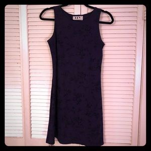 {Vintage}90s deep purple microfloral bodycon dress